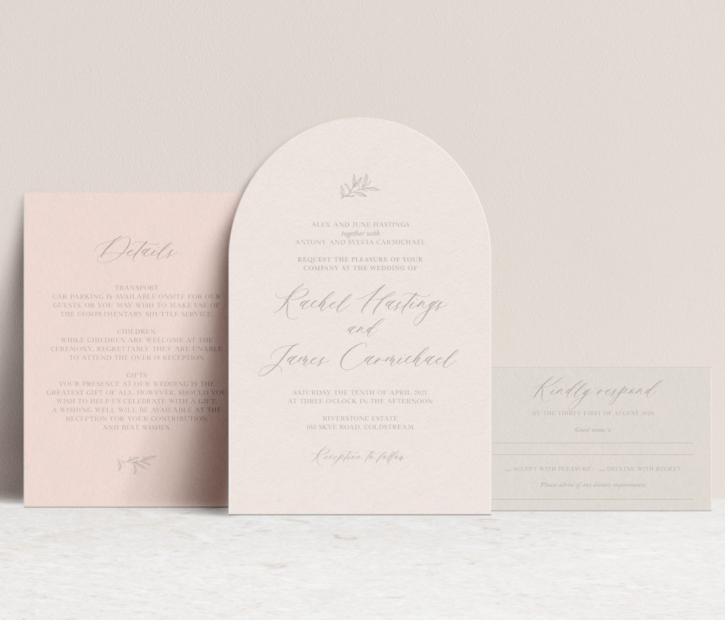 arch shape wedding invitation