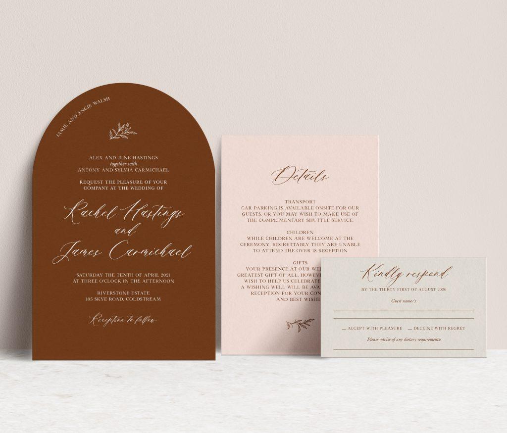 Arch shape wedding invitations