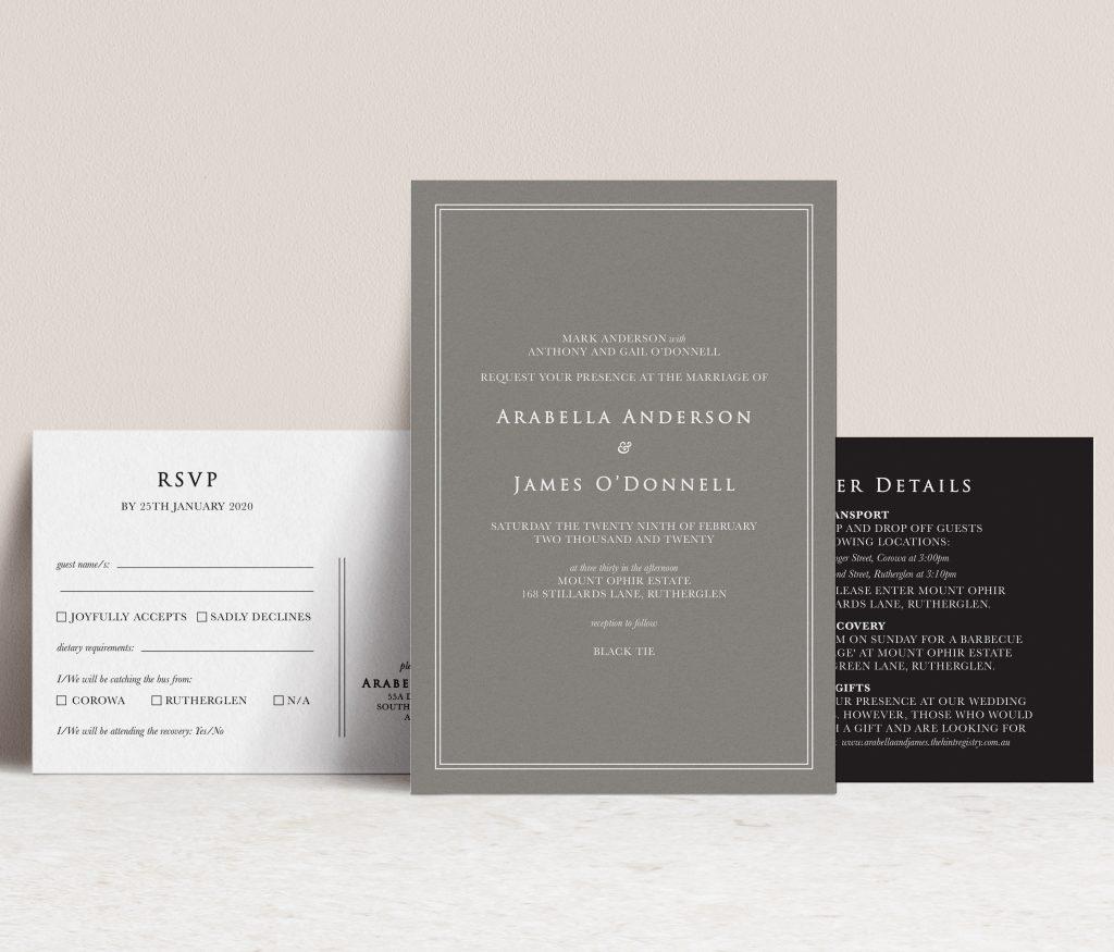 white ink printed wedding stationery Melbourne
