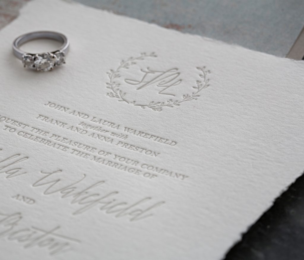 letterpress deckle edges wedding invitations