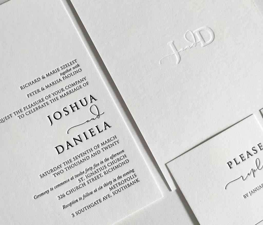 letterpress wedding invitations Melbourne