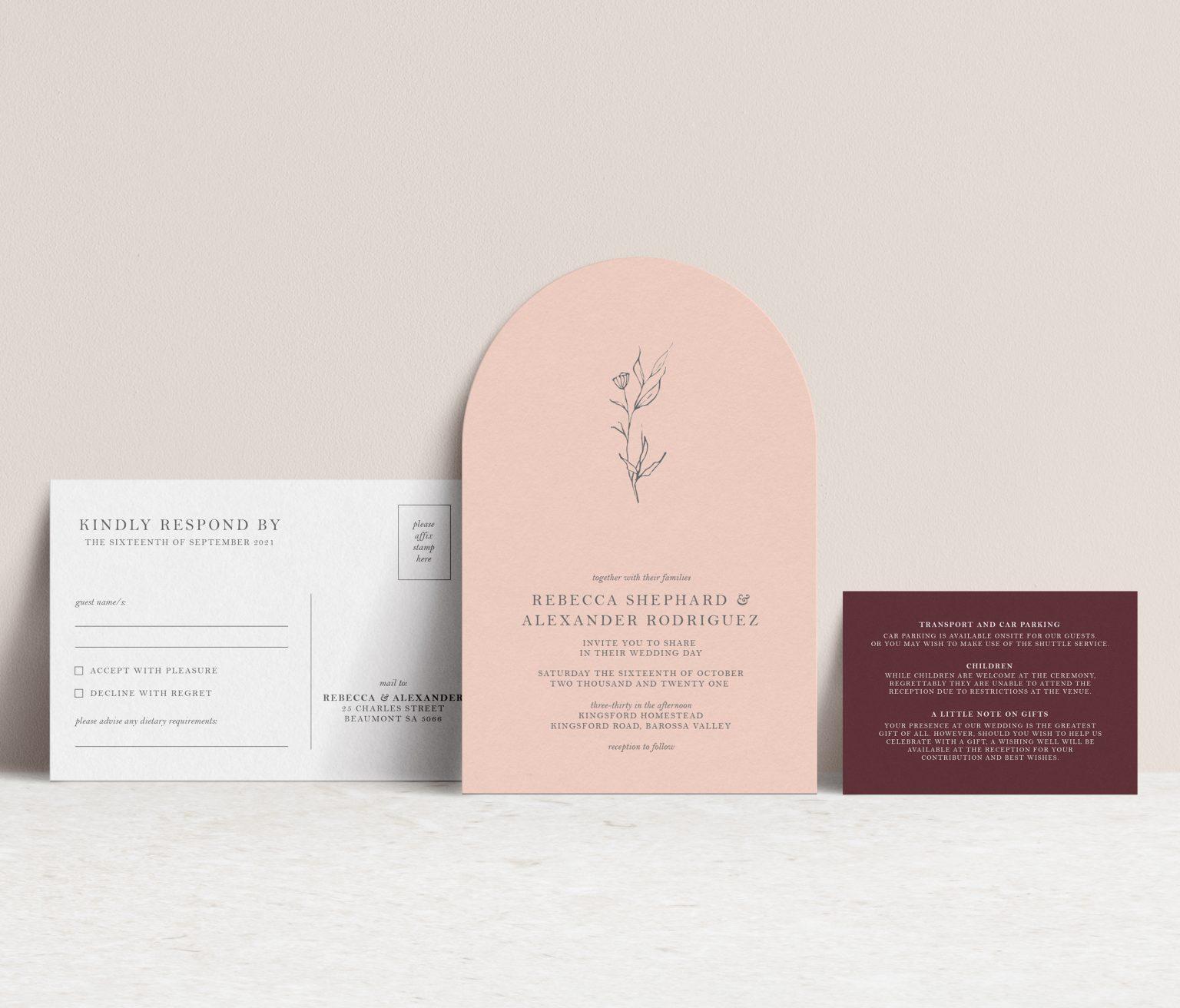 arch shape wedding invitation suite