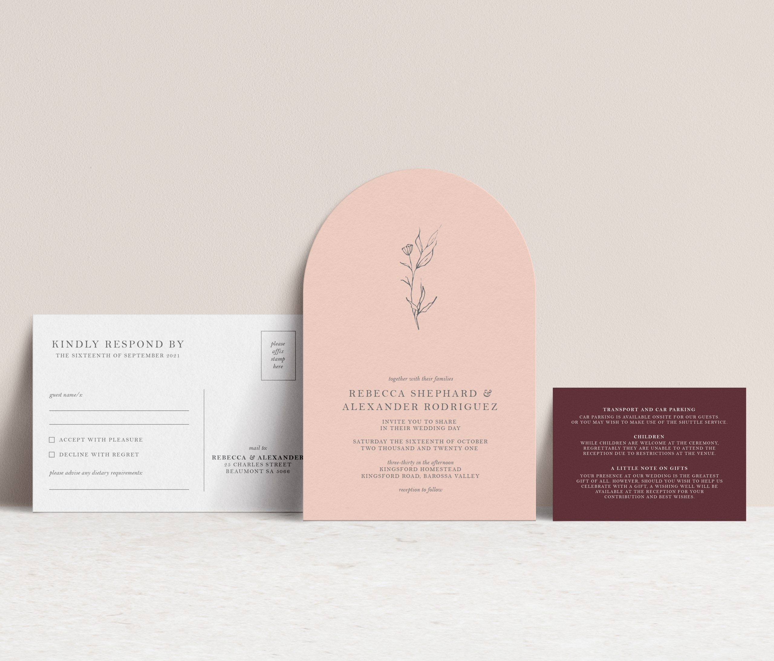 arch shape wedding invitation suite