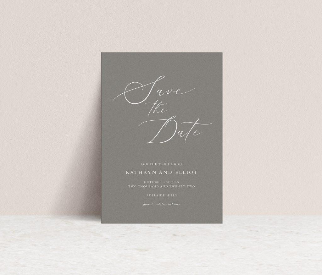 Save the Date wedding invitations Australia. White ink print
