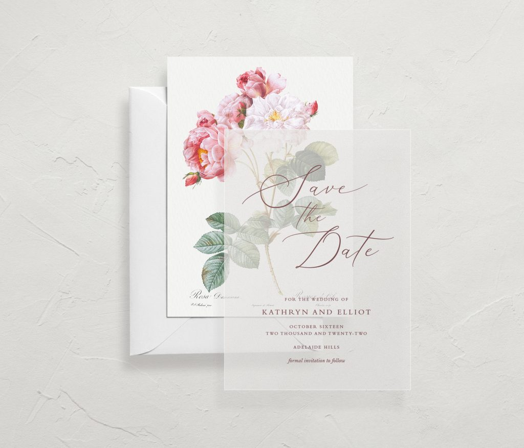 Save the date wedding stationery Melbourne Vellum