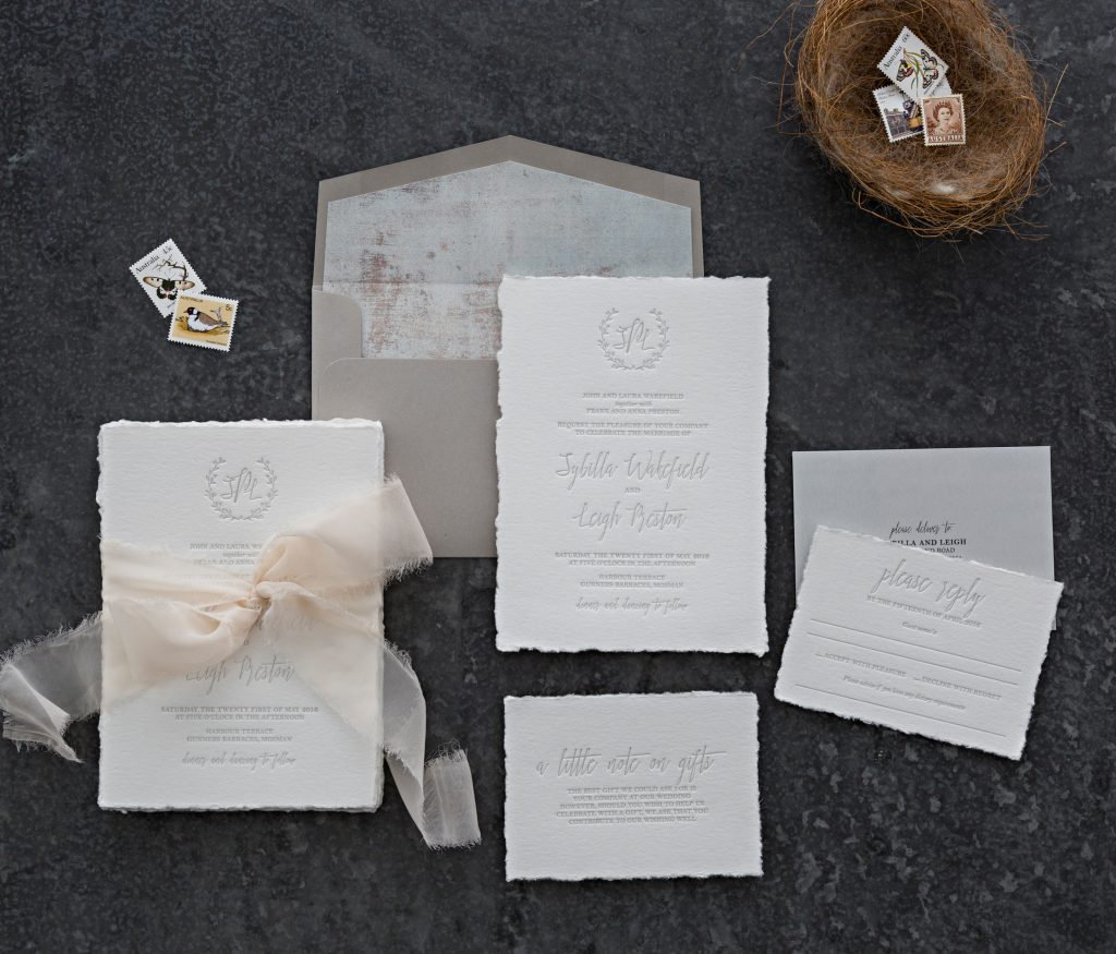 Letterpress wedding invitations Australia