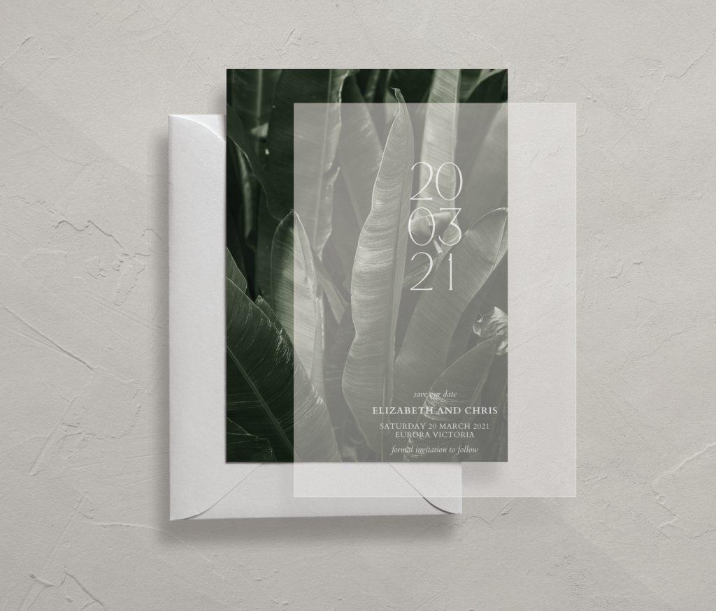 Save the Dates Australia wedding invitations Vellum transparent white ink